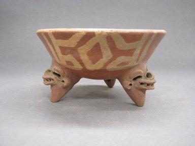 <em>Tripod Bowl</em>, 800-1500. Ceramic, pigment, 3 1/4 x 6 1/16 x 6 1/8 in. (8.3 x 15.4 x 15.6 cm). Brooklyn Museum, Alfred W. Jenkins Fund, 34.2506. Creative Commons-BY (Photo: Brooklyn Museum, CUR.34.2506_view1.jpg)