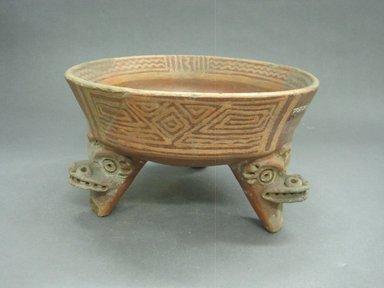 <em>Tripod Bowl</em>, 800-1500. Ceramic, pigment, 5 1/4 x 9 1/4 x 9 1/4 in. (13.3 x 23.5 x 23.5 cm). Brooklyn Museum, Alfred W. Jenkins Fund, 34.2514. Creative Commons-BY (Photo: Brooklyn Museum, CUR.34.2514.jpg)