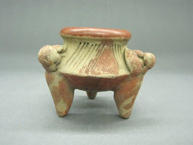 <em>Miniature Tripod Jar</em>, 100 B.C.E.-500 C.E. Ceramic, red slip, 2 3/8 x 2 7/8 x 2 15/16 in. (6 x 7.3 x 7.5 cm). Brooklyn Museum, Alfred W. Jenkins Fund, 34.2612. Creative Commons-BY (Photo: Brooklyn Museum, CUR.34.2612_view1.jpg)
