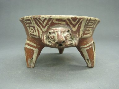 <em>Tripod Bowl</em>, 800-1500. Ceramic, pigment, 3 1/4 x 6 x 5 1/2 in. (8.3 x 15.2 x 14 cm). Brooklyn Museum, Alfred W. Jenkins Fund, 34.2762. Creative Commons-BY (Photo: Brooklyn Museum, CUR.34.2762_view1.jpg)