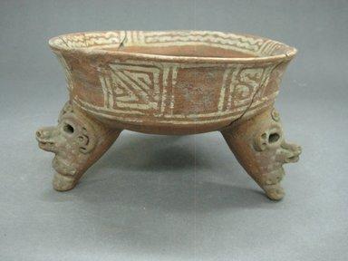<em>Tripod Bowl</em>, 800-1500. Ceramic, pigment, 4 1/8 x 6 15/16 x 6 15/16 in. (10.5 x 17.6 x 17.6 cm). Brooklyn Museum, Alfred W. Jenkins Fund, 34.2846. Creative Commons-BY (Photo: Brooklyn Museum, CUR.34.2846_view1.jpg)
