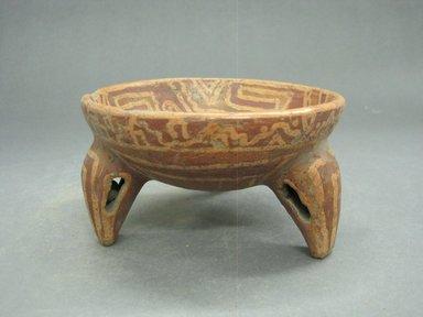 <em>Tripod Bowl</em>, 800-1500. Ceramic, pigment, 2 11/16 x 4 13/16 x 4 13/16 in. (6.8 x 12.2 x 12.2 cm). Brooklyn Museum, Alfred W. Jenkins Fund, 34.2874. Creative Commons-BY (Photo: Brooklyn Museum, CUR.34.2874_view1.jpg)