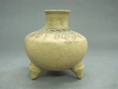 <em>Tripod Jar</em>, 1000-1550. Ceramic, pigment, 4 3/8 x 4 1/4 x 4 1/4 in. (11.1 x 10.8 x 10.8 cm). Brooklyn Museum, Alfred W. Jenkins Fund, 34.3098. Creative Commons-BY (Photo: Brooklyn Museum, CUR.34.3098_view1.jpg)