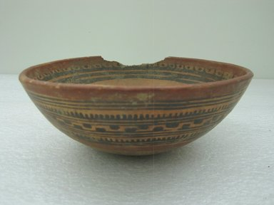 <em>Bowl</em>, 800-1200. Ceramic, pigments, 3 3/8 x 8 3/4 x 8 7/8 in. (8.5 x 22.2 x 22.5 cm). Brooklyn Museum, Alfred W. Jenkins Fund, 34.3195. Creative Commons-BY (Photo: Brooklyn Museum, CUR.34.3195.jpg)