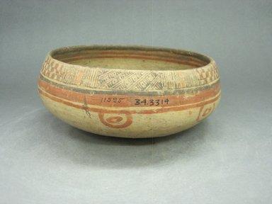 <em>Bowl</em>, 1000-1350. Ceramic, pigment, 3 11/16 x 9 x 9 1/8 in. (9.4 x 22.9 x 23.2 cm). Brooklyn Museum, Alfred W. Jenkins Fund, 34.3314. Creative Commons-BY (Photo: Brooklyn Museum, CUR.34.3314.jpg)
