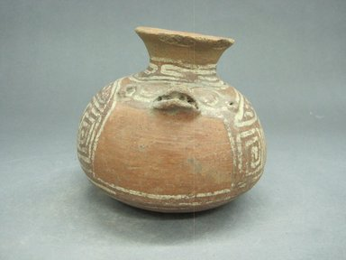 <em>Jar</em>, 800-1500. Ceramic, pigment, 4 5/8 x 5 7/16 x 5 1/4 in. (11.7 x 13.8 x 13.3 cm). Brooklyn Museum, Alfred W. Jenkins Fund, 34.3380. Creative Commons-BY (Photo: Brooklyn Museum, CUR.34.3380_view1.jpg)