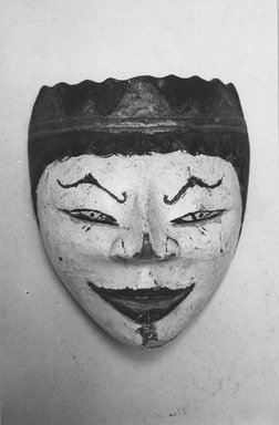 <em>Mask</em>, 19th century. Wood, pigment, 6 5/16 x 5 1/2 in. (16 x 14 cm). Brooklyn Museum, Brooklyn Museum Collection, 34.36. Creative Commons-BY (Photo: Brooklyn Museum, CUR.34.36_view1_print_bw.jpg)