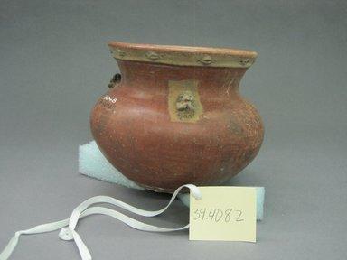 <em>Jar</em>, 300-1500?. Ceramic, pigment, 6 1/2 x 7 1/2 x 7 3/4 in. (16.5 x 19.1 x 19.7 cm). Brooklyn Museum, Alfred W. Jenkins Fund, 34.4082. Creative Commons-BY (Photo: Brooklyn Museum, CUR.34.4082_view1.jpg)