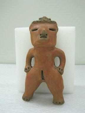 <em>Female Figurine</em>, 500-1000. Ceramic, red slip, 6 3/4 x 3 1/2 x 2 in. (17.1 x 8.9 x 5.1 cm). Brooklyn Museum, Alfred W. Jenkins Fund, 34.4128. Creative Commons-BY (Photo: Brooklyn Museum, CUR.34.4128_view1.jpg)