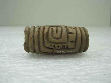 <em>Roller Stamp</em>, 1-700. Ceramic, 1 x 1 x 2 1/2 in. (2.5 x 2.5 x 6.4 cm). Brooklyn Museum, Alfred W. Jenkins Fund, 34.4182. Creative Commons-BY (Photo: Brooklyn Museum, CUR.34.4182.jpg)