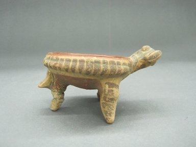 <em>Miniature Tripod Bowl</em>, 100 B.C.E.-500 C.E. Ceramic, red slip, 2 1/2 x 4 1/2 x 3 1/4 in. (6.4 x 11.4 x 8.3 cm). Brooklyn Museum, Alfred W. Jenkins Fund, 34.4359. Creative Commons-BY (Photo: Brooklyn Museum, CUR.34.4359_view1.jpg)
