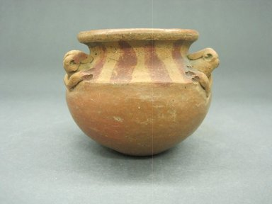 <em>Jar</em>, 100 B.C.E.-500 C.E. Ceramic, red slip, 2 5/16 x 3 1/4 x 3 1/4 in. (5.9 x 8.3 x 8.3 cm). Brooklyn Museum, Alfred W. Jenkins Fund, 34.4511. Creative Commons-BY (Photo: Brooklyn Museum, CUR.34.4511.jpg)