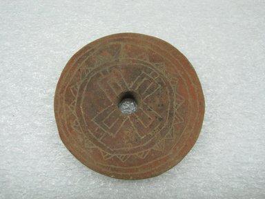 <em>Jar Cover</em>, 700-1000. Ceramic, 3 x 1/2 x 3 in. (7.6 x 1.3 x 7.6 cm). Brooklyn Museum, Alfred W. Jenkins Fund, 34.4676. Creative Commons-BY (Photo: Brooklyn Museum, CUR.34.4676_view1.jpg)