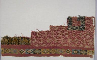 Coastal Wari. <em>Mantle, Fragment</em>, 600-1000. Cotton, camelid fiber, 8 11/16 x 19 11/16 in. (22 x 50 cm). Brooklyn Museum, George C. Brackett Fund, 34.556.2. Creative Commons-BY (Photo: Brooklyn Museum, CUR.34.556.2.jpg)