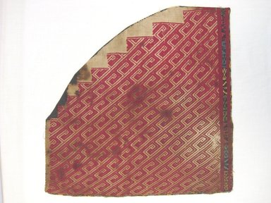 Coastal Wari. <em>Fragment of Mantle or Wrapping Cloth</em>, 600-1000 C.E. Cotton, camelid fiber, as patched: 13 x 13 in. (33 x 33 cm). Brooklyn Museum, George C. Brackett Fund, 34.557. Creative Commons-BY (Photo: Brooklyn Museum, CUR.34.557.jpg)