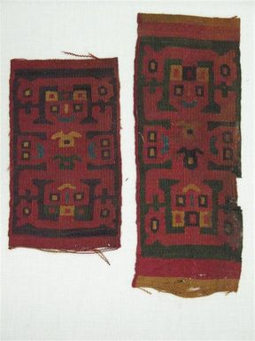 Wari. <em>Textile Fragment, Unascertainable or Headband?, Fragment</em>, 600-1000 C.E. Cotton, camelid fiber, 9 1/4 x 3 9/16 in. (23.5 x 9.0 cm). Brooklyn Museum, George C. Brackett Fund, 34.558.1. Creative Commons-BY (Photo: , CUR.34.558.1_34.558.2.jpg)