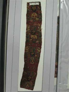 Wari. <em>Headband, Fragment</em>, 600-1000. Cotton, camelid fiber, 14 3/4 x 2 15/16 in. (37.5 x 7.5 cm). Brooklyn Museum, George C. Brackett Fund, 34.558.3. Creative Commons-BY (Photo: Brooklyn Museum, CUR.34.558.3_view1.jpg)