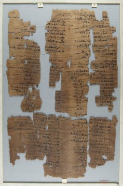<em>The Wilbour Papyrus</em>, ca. 1147 B.C.E. Papyrus, ink, Glass: 11 13/16 x 18 1/8 in. (30 x 46 cm). Brooklyn Museum, Charles Edwin Wilbour Fund, 34.5596.10 (Photo: Brooklyn Museum, CUR.34.5596.10_front_IMLS_PS5.jpg)