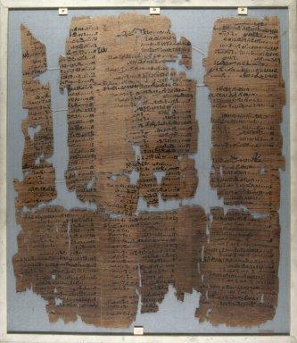 <em>The Wilbour Papyrus</em>, ca. 1147 B.C.E. Papyrus, ink, Glass: 15 3/4 x 18 1/8 in. (40 x 46 cm). Brooklyn Museum, Charles Edwin Wilbour Fund, 34.5596.11 (Photo: Brooklyn Museum, CUR.34.5596.11_front_IMLS_PS5.jpg)
