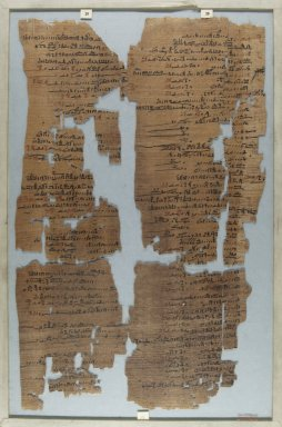<em>The Wilbour Papyrus</em>, ca. 1147 B.C.E. Papyrus, ink, Glass: 11 13/16 x 18 1/8 in. (30 x 46 cm). Brooklyn Museum, Charles Edwin Wilbour Fund, 34.5596.12 (Photo: Brooklyn Museum, CUR.34.5596.12_front_IMLS_PS5.jpg)