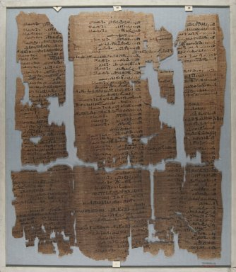 <em>The Wilbour Papyrus</em>, ca. 1147 B.C.E. Papyrus, ink, Glass: 15 3/4 x 18 1/8 in. (40 x 46 cm). Brooklyn Museum, Charles Edwin Wilbour Fund, 34.5596.13 (Photo: Brooklyn Museum, CUR.34.5596.13_front_IMLS_PS5.jpg)