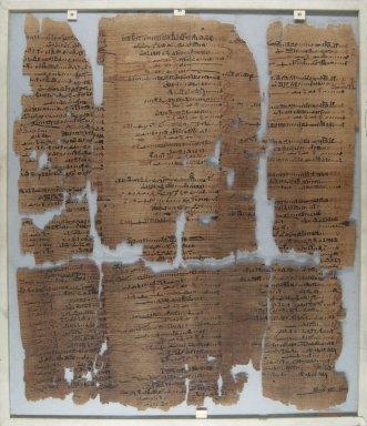<em>The Wilbour Papyrus</em>, ca. 1147 B.C.E. Papyrus, ink, Glass: 15 3/4 x 18 1/8 in. (40 x 46 cm). Brooklyn Museum, Charles Edwin Wilbour Fund, 34.5596.14 (Photo: Brooklyn Museum, CUR.34.5596.14_front_IMLS_PS5.jpg)