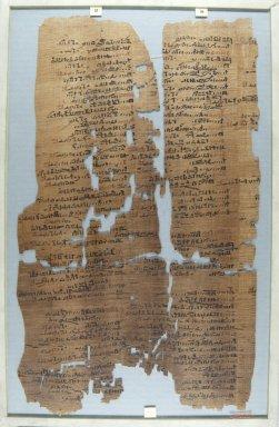 <em>The Wilbour Papyrus</em>, ca. 1147 B.C.E. Papyrus, ink, Glass: 11 13/16 x 18 1/8 in. (30 x 46 cm). Brooklyn Museum, Charles Edwin Wilbour Fund, 34.5596.15 (Photo: Brooklyn Museum, CUR.34.5596.15_front_IMLS_PS5.jpg)