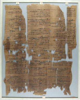<em>The Wilbour Papyrus</em>, ca. 1147 B.C.E. Papyrus, ink, Glass: 14 9/16 x 18 1/8 in. (37 x 46 cm). Brooklyn Museum, Charles Edwin Wilbour Fund, 34.5596.16 (Photo: Brooklyn Museum, CUR.34.5596.16_front_IMLS_PS5.jpg)