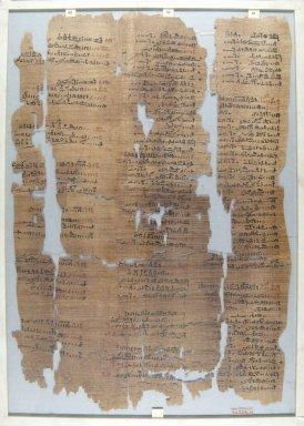 <em>The Wilbour Papyrus</em>, ca. 1147 B.C.E. Papyrus, ink, Glass: 13 x 18 1/8 in. (33 x 46 cm). Brooklyn Museum, Charles Edwin Wilbour Fund, 34.5596.17 (Photo: Brooklyn Museum, CUR.34.5596.17_front_IMLS_PS5.jpg)