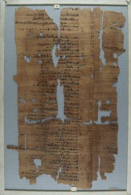 <em>The Wilbour Papyrus</em>, ca. 1147 B.C.E. Papyrus, ink, Glass: 12 3/16 x 18 1/8 in. (31 x 46 cm). Brooklyn Museum, Charles Edwin Wilbour Fund, 34.5596.18 (Photo: Brooklyn Museum, CUR.34.5596.18_front_IMLS_PS5.jpg)