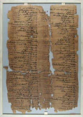 <em>The Wilbour Papyrus</em>, ca. 1147 B.C.E. Papyrus, ink, Glass: 13 x 18 1/8 in. (33 x 46 cm). Brooklyn Museum, Charles Edwin Wilbour Fund, 34.5596.20 (Photo: Brooklyn Museum, CUR.34.5596.20_front_IMLS_PS5.jpg)
