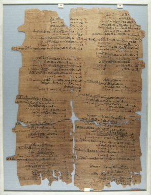 <em>The Wilbour Papyrus</em>, ca. 1147 B.C.E. Papyrus, ink, Glass: 14 x 18 1/8 in. (35.5 x 46 cm). Brooklyn Museum, Charles Edwin Wilbour Fund, 34.5596.21 (Photo: Brooklyn Museum, CUR.34.5596.21_front_IMLS_PS5.jpg)