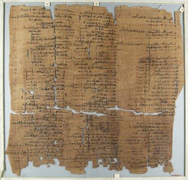 <em>The Wilbour Papyrus</em>, ca. 1147 B.C.E. Papyrus, ink, Glass: 18 1/8 x 18 7/8 in. (46 x 48 cm). Brooklyn Museum, Charles Edwin Wilbour Fund, 34.5596.23 (Photo: Brooklyn Museum, CUR.34.5596.23_front_IMLS_PS5.jpg)
