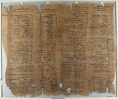 <em>The Wilbour Papyrus</em>, ca. 1147 B.C.E. Papyrus, ink, Glass: 18 1/8 x 21 5/8 in. (46 x 55 cm). Brooklyn Museum, Charles Edwin Wilbour Fund, 34.5596.24 (Photo: Brooklyn Museum, CUR.34.5596.24_front_IMLS_PS5.jpg)