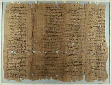 <em>The Wilbour Papyrus</em>, ca. 1147 B.C.E. Papyrus, ink, Glass: 18 1/8 x 23 5/8 in. (46 x 60 cm). Brooklyn Museum, Charles Edwin Wilbour Fund, 34.5596.25 (Photo: Brooklyn Museum, CUR.34.5596.25_front_IMLS_PS5.jpg)