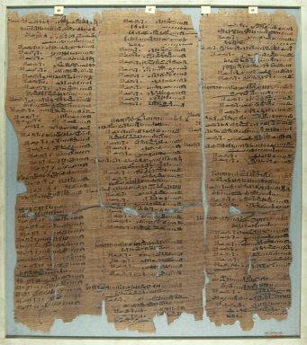<em>The Wilbour Papyrus</em>, ca. 1147 B.C.E. Papyrus, ink, Glass: 16 1/8 x 18 1/8 in. (41 x 46 cm). Brooklyn Museum, Charles Edwin Wilbour Fund, 34.5596.26 (Photo: Brooklyn Museum, CUR.34.5596.26_front_IMLS_PS5.jpg)