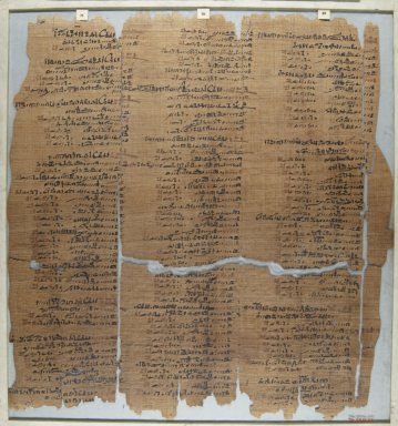 <em>The Wilbour Papyrus</em>, ca. 1147 B.C.E. Papyrus, ink, Glass: 16 15/16 x 18 1/8 in. (43 x 46 cm). Brooklyn Museum, Charles Edwin Wilbour Fund, 34.5596.27 (Photo: Brooklyn Museum, CUR.34.5596.27_front_IMLS_PS5.jpg)