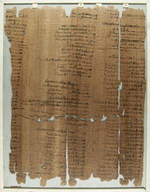 <em>The Wilbour Papyrus</em>, ca. 1147 B.C.E. Papyrus, ink, Glass: 14 3/16 x 18 1/8 in. (36 x 46 cm). Brooklyn Museum, Charles Edwin Wilbour Fund, 34.5596.28 (Photo: Brooklyn Museum, CUR.34.5596.28_front_IMLS_PS5.jpg)