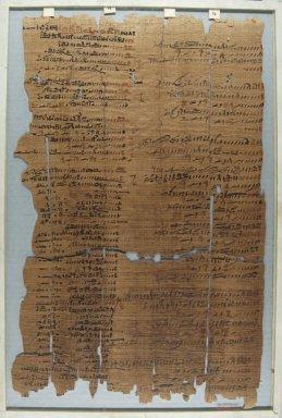 <em>The Wilbour Papyrus</em>, ca. 1147 B.C.E. Papyrus, ink, Glass: 12 3/16 x 18 1/8 in. (31 x 46 cm). Brooklyn Museum, Charles Edwin Wilbour Fund, 34.5596.29 (Photo: Brooklyn Museum, CUR.34.5596.29_front_IMLS_PS5.jpg)
