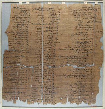 <em>The Wilbour Papyrus</em>, ca. 1147 B.C.E. Papyrus, ink, Glass: 17 5/16 x 18 1/8 in. (44 x 46 cm). Brooklyn Museum, Charles Edwin Wilbour Fund, 34.5596.30 (Photo: Brooklyn Museum, CUR.34.5596.30_front_IMLS_PS5.jpg)