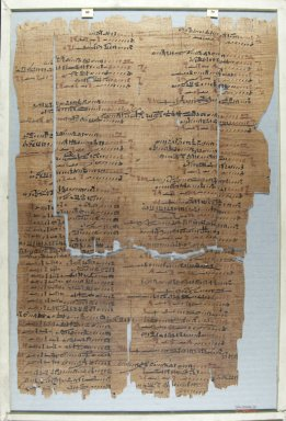 <em>The Wilbour Papyrus</em>, ca. 1147 B.C.E. Papyrus, ink, Glass: 12 3/16 x 18 1/8 in. (31 x 46 cm). Brooklyn Museum, Charles Edwin Wilbour Fund, 34.5596.31 (Photo: Brooklyn Museum, CUR.34.5596.31_front_IMLS_PS5.jpg)