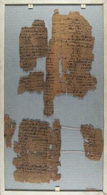 <em>The Wilbour Papyrus</em>, ca. 1147 B.C.E. Papyrus, ink, Glass: 9 13/16 x 18 1/8 in. (25 x 46 cm). Brooklyn Museum, Charles Edwin Wilbour Fund, 34.5596.3 (Photo: Brooklyn Museum, CUR.34.5596.3_front_IMLS_PS5.jpg)