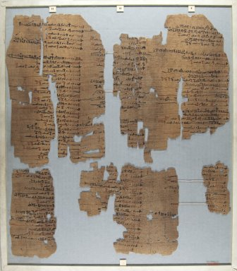 <em>The Wilbour Papyrus</em>, ca. 1147 B.C.E. Papyrus, ink, Glass: 15 3/4 x 18 1/8 in. (40 x 46 cm). Brooklyn Museum, Charles Edwin Wilbour Fund, 34.5596.4 (Photo: Brooklyn Museum, CUR.34.5596.4_front_IMLS_PS5.jpg)