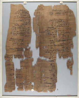 <em>The Wilbour Papyrus</em>, ca. 1147 B.C.E. Papyrus, ink, Glass: 14 9/16 x 18 1/8 in. (37 x 46 cm). Brooklyn Museum, Charles Edwin Wilbour Fund, 34.5596.6 (Photo: Brooklyn Museum, CUR.34.5596.6_front_IMLS_PS5.jpg)