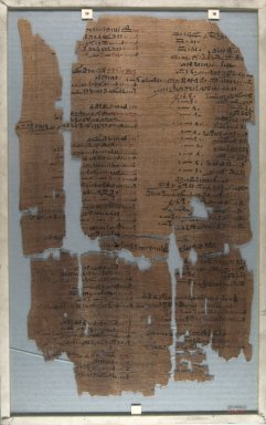<em>The Wilbour Papyrus</em>, ca. 1147 B.C.E. Papyrus, ink, Glass: 11 7/16 x 18 1/8 in. (29 x 46 cm). Brooklyn Museum, Charles Edwin Wilbour Fund, 34.5596.8 (Photo: Brooklyn Museum, CUR.34.5596.8_front_IMLS_PS5.jpg)
