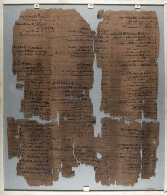 <em>The Wilbour Papyrus</em>, ca. 1147 B.C.E. Papyrus, ink, Glass: 15 3/4 x 18 1/8 in. (40 x 46 cm). Brooklyn Museum, Charles Edwin Wilbour Fund, 34.5596.9 (Photo: Brooklyn Museum, CUR.34.5596.9_front_IMLS_PS5.jpg)
