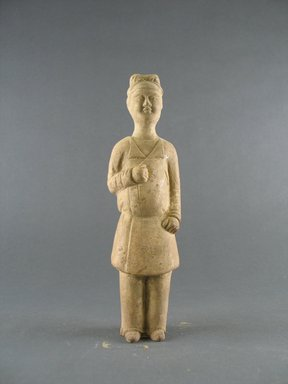 <em>Tomb Model of an Attendant</em>, 7th century. Earthenware with lead glaze, 8 1/4 in. (21 cm). Brooklyn Museum, Brooklyn Museum Collection, 34.5632. Creative Commons-BY (Photo: Brooklyn Museum, CUR.34.5632_front.jpg)