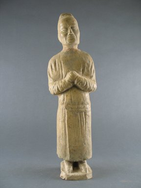 <em>Tomb Figure of an Attendant</em>, 618-906. Earthenware with lead glaze, H: 13 in. (33 cm). Brooklyn Museum, Brooklyn Museum Collection, 34.5672. Creative Commons-BY (Photo: Brooklyn Museum, CUR.34.5672_front.jpg)
