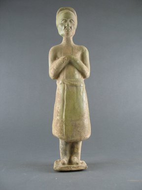<em>Tomb Figure of an Attendant</em>, 618-906. Earthenware, 11 1/2 in. (29.2 cm). Brooklyn Museum, Brooklyn Museum Collection, 34.5679. Creative Commons-BY (Photo: Brooklyn Museum, CUR.34.5679_front.jpg)