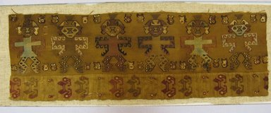 Chimú. <em>Textile Fragment, undetermined</em>, 1000-1532 C.E. Cotton, camelid fiber, height: (17.0 cm). Brooklyn Museum, George C. Brackett Fund, 34.569. Creative Commons-BY (Photo: Brooklyn Museum, CUR.34.569_view2.jpg)